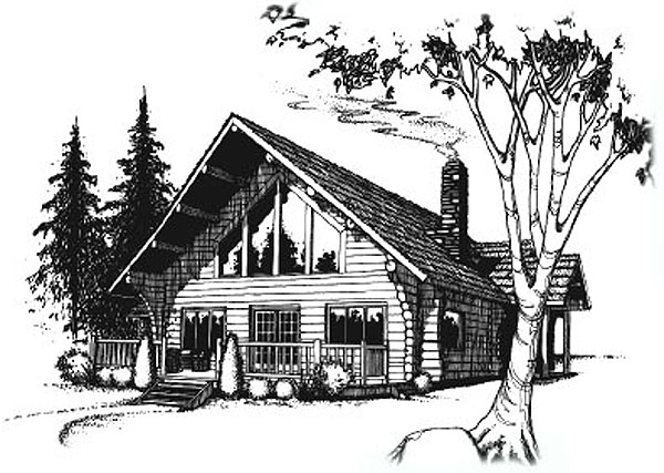 Graphic art - Log cabin house